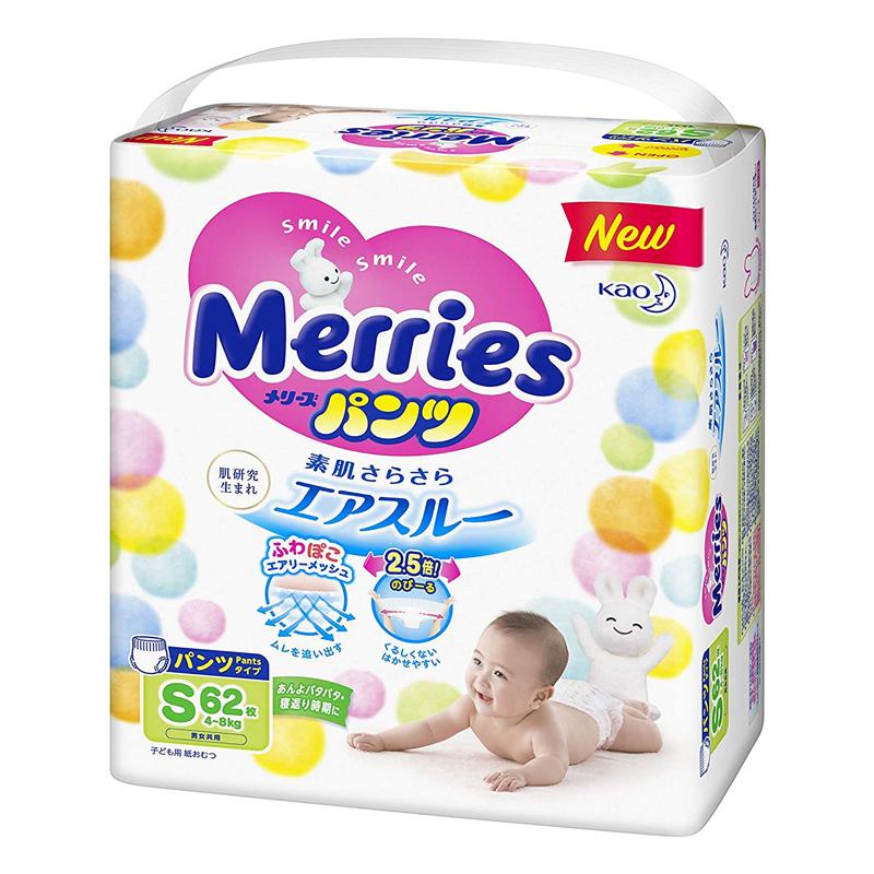Tã quần Merries size S 62 miếng cộng thêm 6 miếng từ 4-8kg
