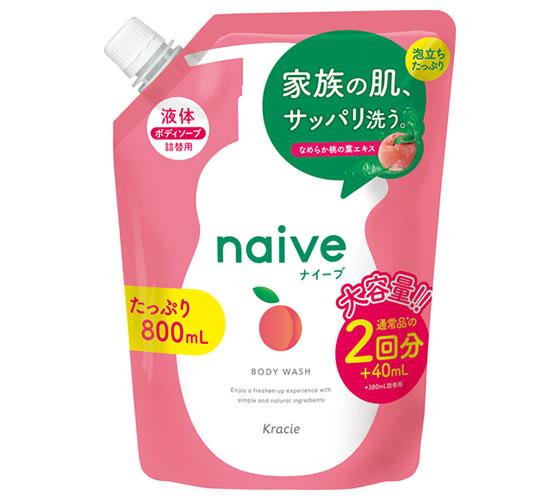 Sữa tắm Naive Kracie hương đào túi refill 800mL