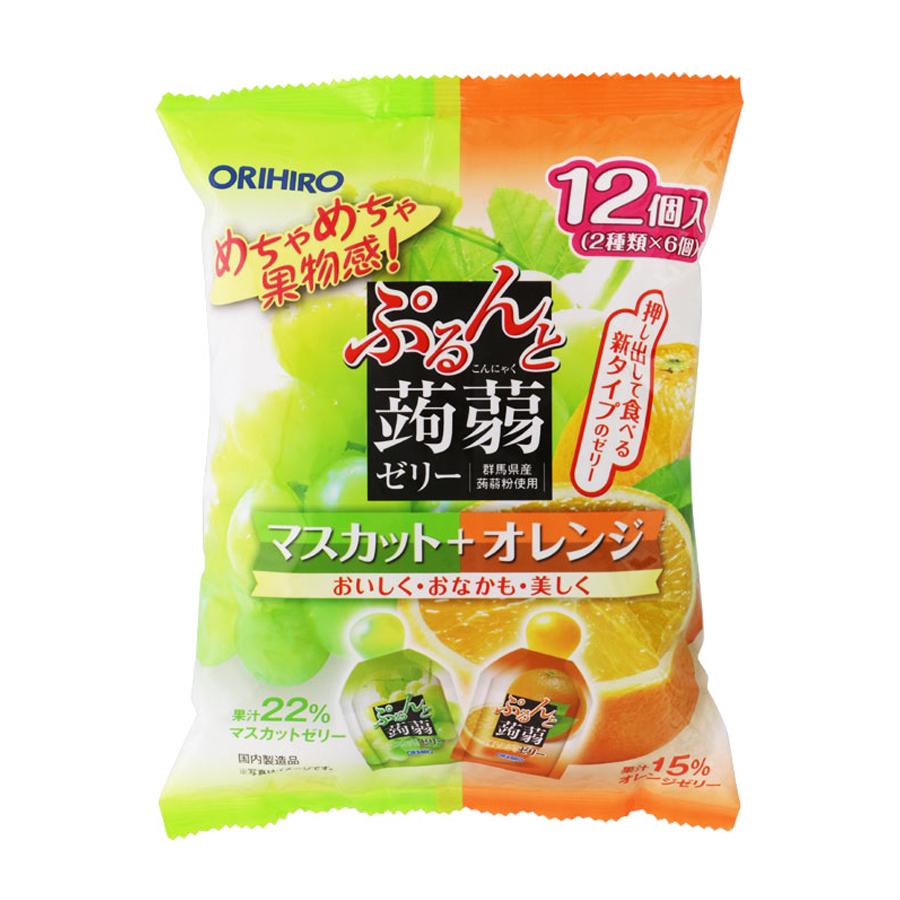 Thạch Orihiro Mix vị nho và cam 240g (20g x 12 cái)